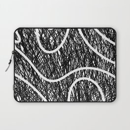 Scribble Ripples - Abstract Black and White Ink Scribble Pattern Laptop Sleeve