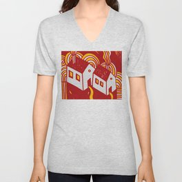 Twin  Houses at Winter in Red and Orange Unisex V-Neck