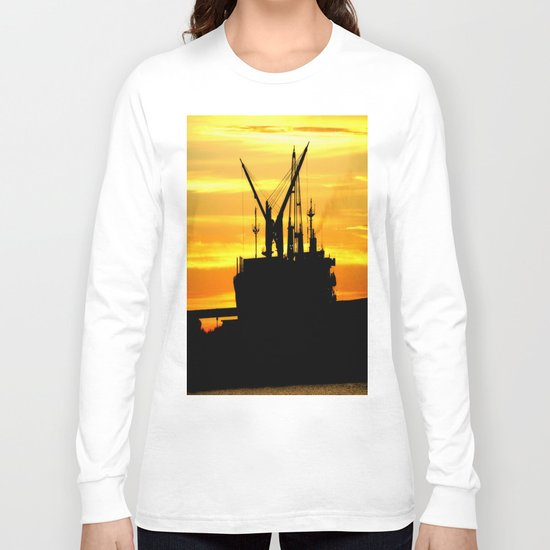 Silhouette of a Fishing Vessel Long Sleeve T-shirt