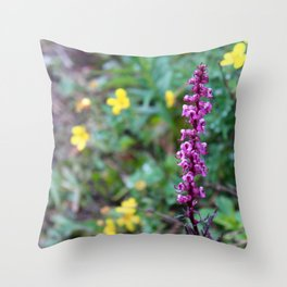 ElephantHead Lousewort Purple WildFlower Throw Pillow