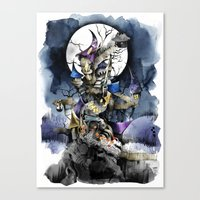 nightmare before christmas Canvas Prints featuring The nightmare before christmas by Sandra Ink