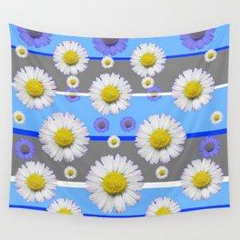 DECORATIVE BLUE MODERN ART WHITE SHASTA DAISIES Wall Tapestry