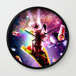 Outer Space Taco Cat - Rainbow Laser Eyes, Burrito Wall Clock