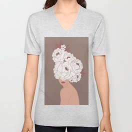 Woman with Peonies Unisex V-Neck