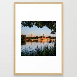 Foliage Framed Denver Skyline Reflections - Square Format Framed Art Print