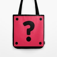video game Tote Bags featuring Video Game Mystery Box by Thomas Ramey