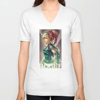 rogue V-neck T-shirts featuring ROGUE by Tim Shumate