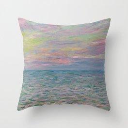 """Claude Monet """"Coucher de soleil à Pourville, pleine mer"""" Throw Pillow"""
