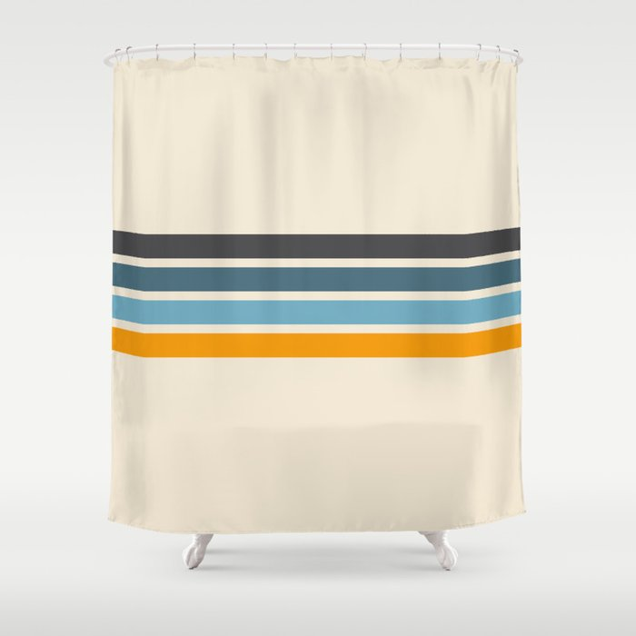 Vintage Retro Stripes Shower Curtain