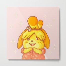 Pixel Art Yellow Shih Tzu / Dog | Isabelle Melinda | Animal Villager Metal Print