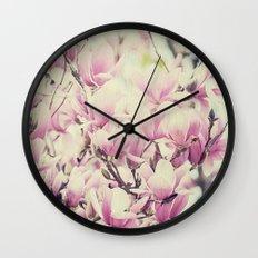Purple Magnolia Blossoms Spring Botanical Wall Clock
