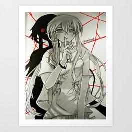 anime: mirai niki drawing Art Print