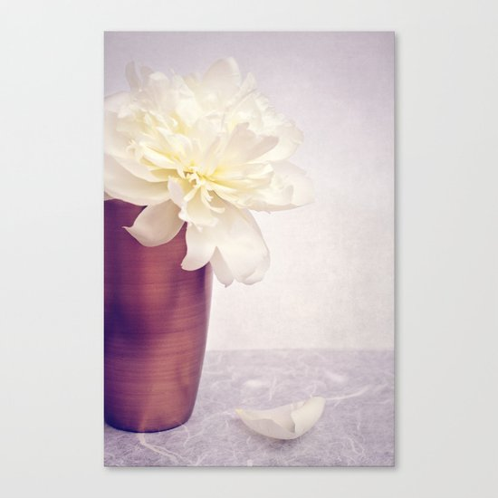 PEONY LOVE - Still life with vase and white peony Canvas Print