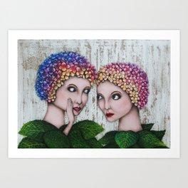 Chattering Hydrangeas Art Print