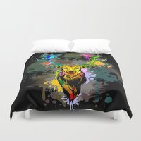 popart Duvet Covers featuring Deer PopArt Dripping Paint by BluedarkArt