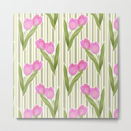 Retro. Pink tulips on a green striped background . Metal Print
