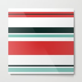 Blue, Red, Black, White Stripes Metal Print