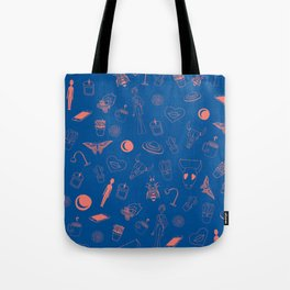 Blue Eclectic Pattern Tote Bag