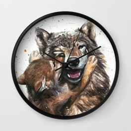 Wolf - Father and Son Wall Clock