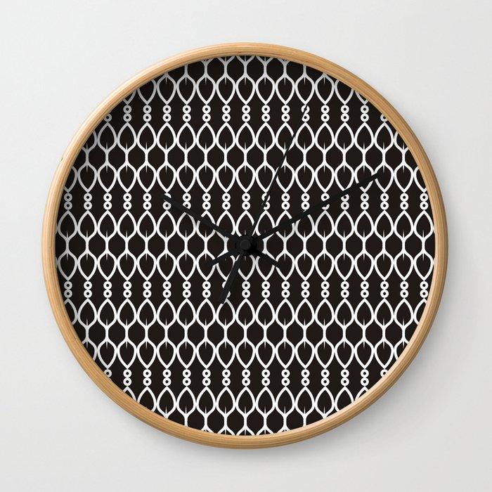 Black and White Shapes Geometric Pattern Wall Clock