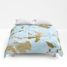 Pale Blue Gold Marble Comforters