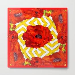 YELLOW CONTEMPORARY ORANGE-RED POPPY PATTERNS Metal Print