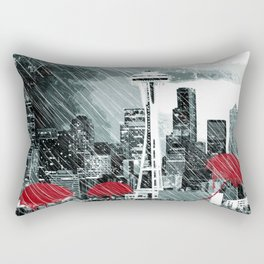 Seattle Skyline in Winter with Red Umbrellas Rectangular Pillow