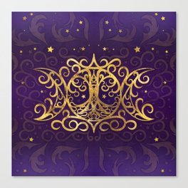 Triple Moon - Triple Goddess Gold and Purple Canvas Print