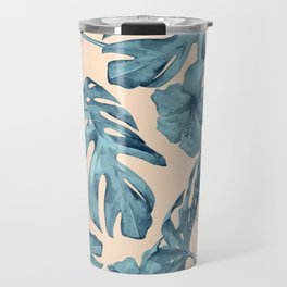Island Vacay Hibiscus Palm Pale Coral Teal Blue Travel Mug