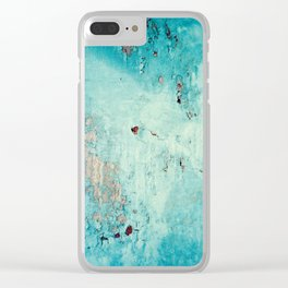 Turquoise Grunge Texture 6 Clear iPhone Case