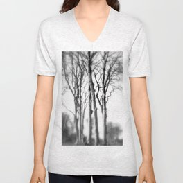 Black and White Woodland Photography Trees Forest Monochrome Home Decor Print Unisex V-Neck