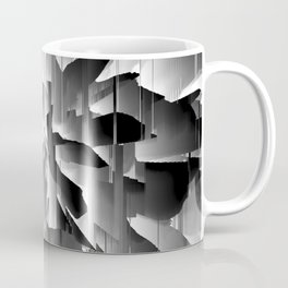 Flowers Exploding with Glitch in Black and White Coffee Mug