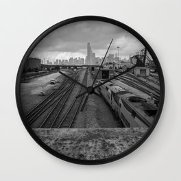 Traveling to Chicago - Blck and White Wall Clock