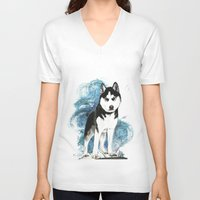 husky V-neck T-shirts featuring Siberian Husky by Cami Landia