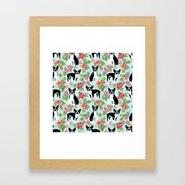 Boston Terrier florals tropical hawaiian print dog breeds custom dog art pet portraits Framed Art Print