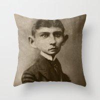 kafka Throw Pillows featuring Kafka by Jason Seiler