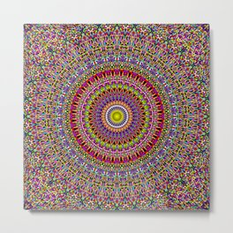 Magic Ornamental Garden Mandala Metal Print