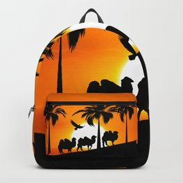 Camel silhouettes at sunset Backpack