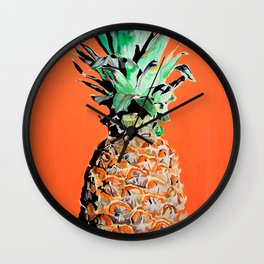 Pineapple pop art painting Wall Clock