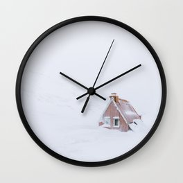 Minimalist orange house in a snowstorm in Iceland - Landscape Photography Wall Clock