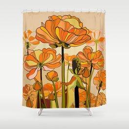 70s, Orange California poppies, mid century, 70s retro, flowers Shower Curtain