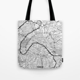 Paris Map Gray Tote Bag