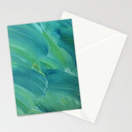 Blue-Green Brush Strokes Stationery Cards