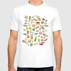 Awesome retro junk food icons MEDIUM Mens Fitted Tee White