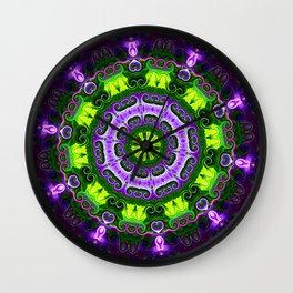 Mandala purple and green Wall Clock