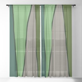 Green Abstract Pattern Turtle Sheer Curtain