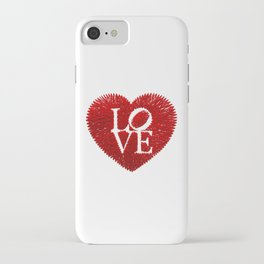love: embroidery on paper print iPhone Case