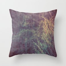 Green Forest - Snow and Rain on Fir Tree Branches Throw Pillow