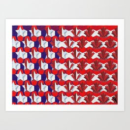 Awesome American to Canadian Flag Pattern! USA vs Canada. Art Print