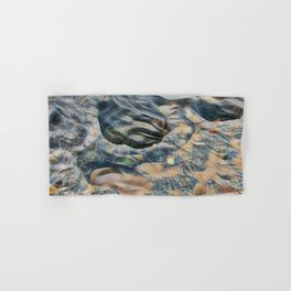 Abstract eroded rocks on beach with puddle Hand & Bath Towel